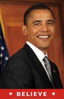 Barack Obama - Believe (Flag) Art Print