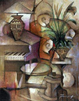 Plant and Piano Art Print (18 x 14in) - Essud Fungcap