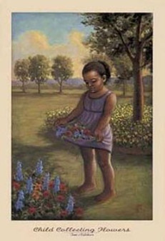 Child Collecting Flowers Art Print - Tim Ashkar
