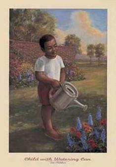 Child With Watering Can  Art Print - Tim Ashkar