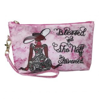 Blessed and Sho Nuff Favored Cosmetic Pouch-- Kiwi McDowell