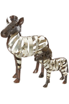 Recycled Metal Ribbon Zebra Sculptures--Small