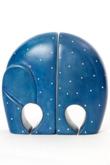 Blue Polka Dot Soapstone Elephant Bookends