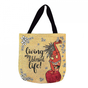 Living My Blessed Life Woven Tote Bag--GBaby