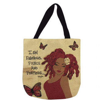 I Am Fabulous, Fierce And Fearless Woven Tote Bag--GBaby