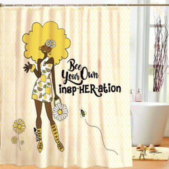 Bee Your Own Insp-HER-ation Designer Shower Curtain-- Kiwi McDowell