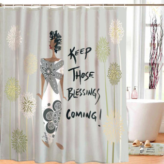 Keep Those Blessings Coming! Shower Curtain --Cidne Wallace