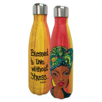 "Blessed To Live Without Stress - Stainless Steel Bottle - Sylvia ""Gbaby"" Cohen"