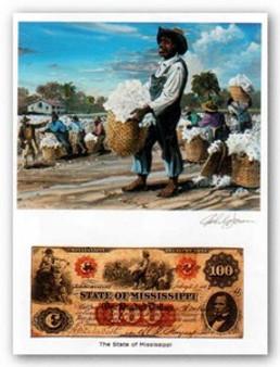Color of Money - Slave Gathering Cotton: Mississippi Art Print - John Jones