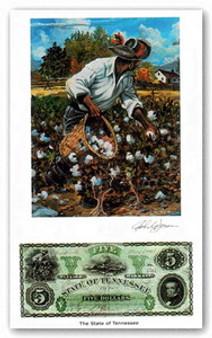 Color of Money - Slave Gathering Cotton: Tennessee Art Print - John Jones