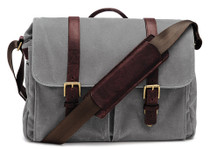 Ona Brixton Canvas Messenger Bag (Smoke)