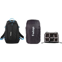 f-stop Guru UL 25L Photo Pack Bundle with Shallow Small ICU, Small Rain Cover (Black / Blue)