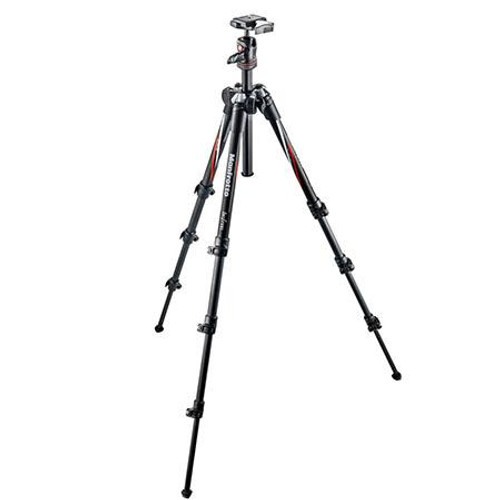 Manfrotto MKBFRC4-BH BeFree 4-Section Carbon-Fiber Travel Tripod with Ball Head and 200PL QR & Carry Bag, Supports 8 lbs
