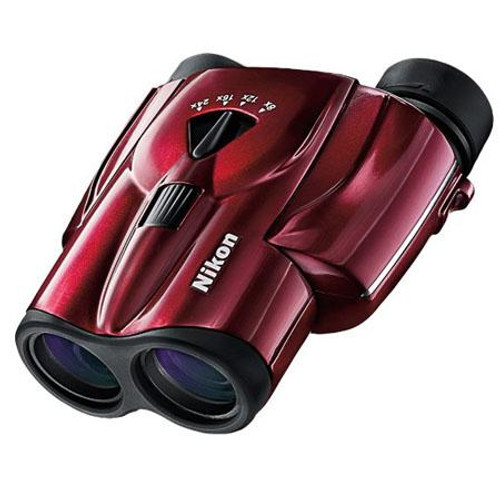 Nikon 8-24x25 Aculon T11 Weather Resistant Porro Prism Binocular with 4.6 Degree Angle of View, Red Finish