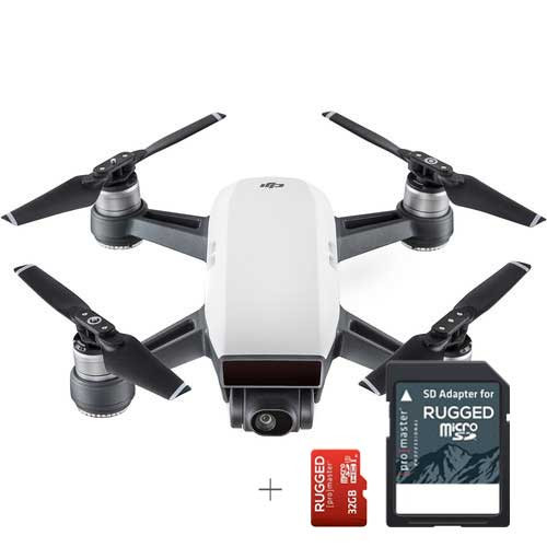 DJI Spark Quadcopter (Alpine White) + 32GB Promaster Rugged Micro SD Memory  Card