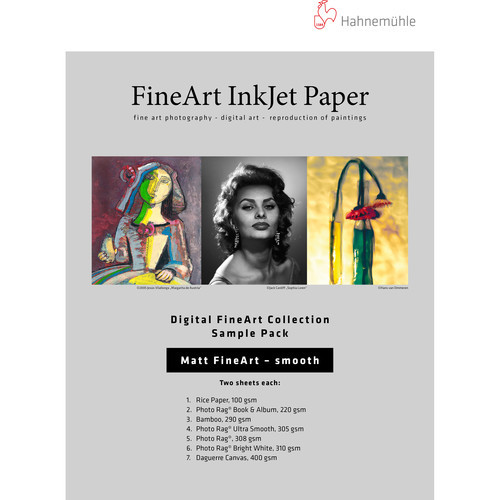 "Hahnemühle Matte Smooth FineArt Inkjet Paper Sample Pack (8.5 x 11"", 12 Sheets)"