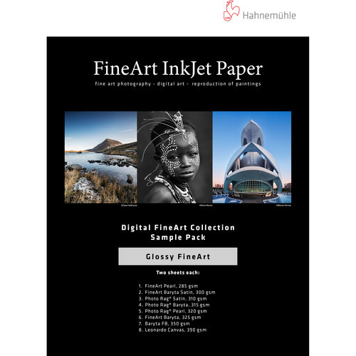 "Hahnemühle Glossy FineArt Inkjet Paper Sample Pack (8.5 x 11"", 14 Sheets)"