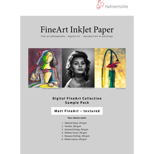 """Hahnemühle Matte Textured FineArt Inkjet Paper Sample Pack (8.5 x 11"""", 10 Sheets)"""