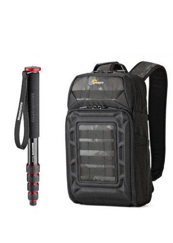 Lowepro DroneGuard BP200 Backpack and Manfrotto Element Monopod Aluminium (Red) Bundle Kit