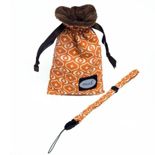 Mod Orange Print Compact Camera Pouch & Strap
