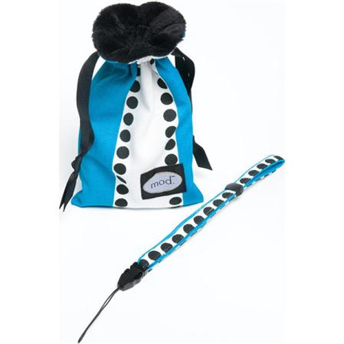 Mod Turquoise Dot Compact Camera Pouch & Strap