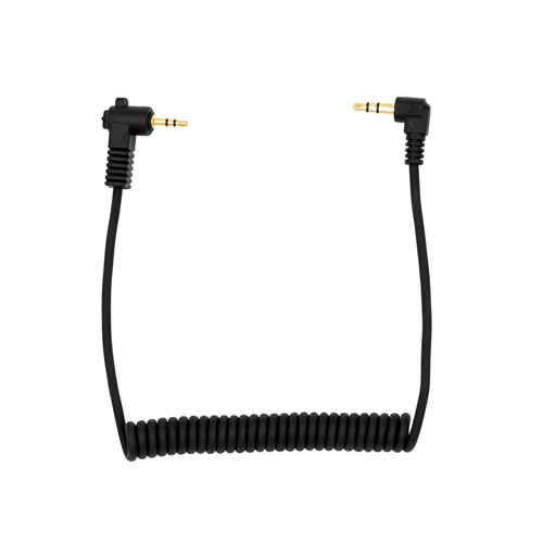 Promaster 2.5mm TRS male right angle - 3.5mm TRS male right angle - coiled Audio Cable