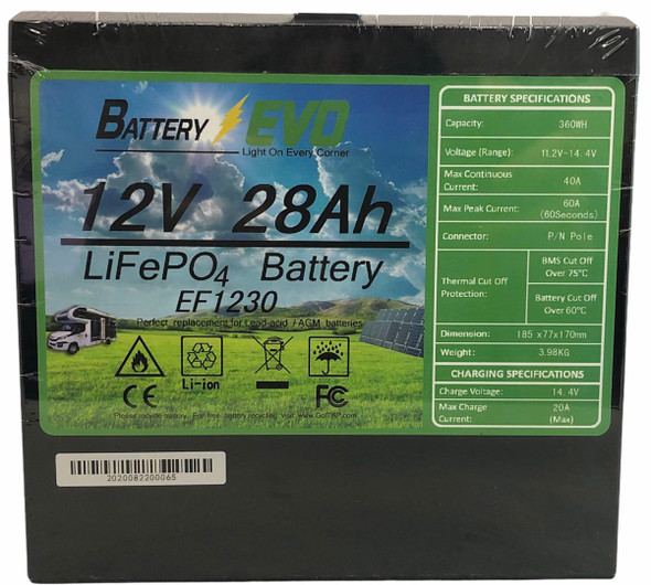 Battery Evo 12V 28Ah LiFePo4 Battery EF1230 360Wh Solar, Rv, Golf Cart