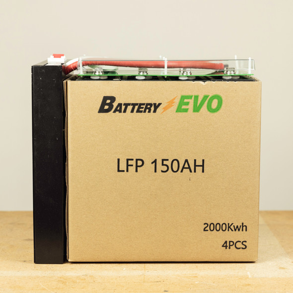 Lot of 4 12V Lithium 150Ah 2 kWh LFP LiFePO4 4 Cells 200A BMS Kit 2 series Cable and 2 Ring End cable