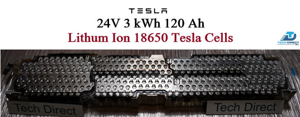 TESLA 24 v 3 kWh Lithium ion Battery Pack 7 series 120Ah 308 cells EV RV Solar