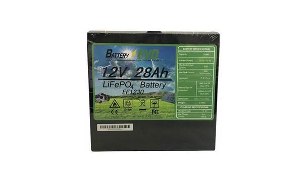 12V Battery Lithium 28Ah LFP LiFePo4 EF1230 360Wh bike Solar RV Trailer scooter