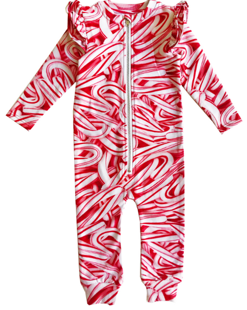 Ruffle Space Suit - Candy Canes