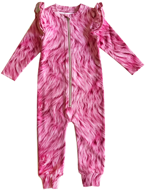 Ruffle Space Suit - Pink Fur