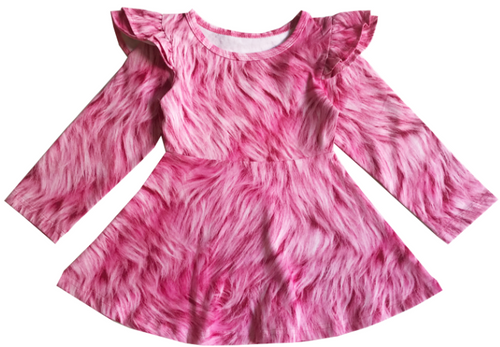 Long Sleeve Skater Dress - Pink Fur