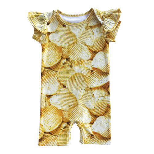 Ruffle Short Romper - Potato Chips