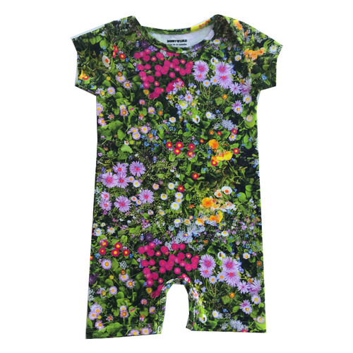 Short Romper - Green Flowers