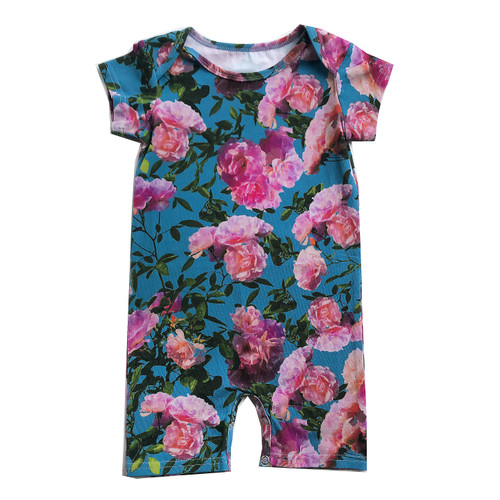 Short Romper - Blue Flowers