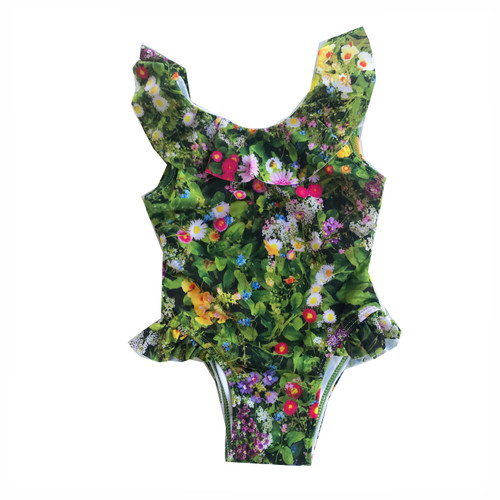 Ruffle Swimsuit - Green Flowers