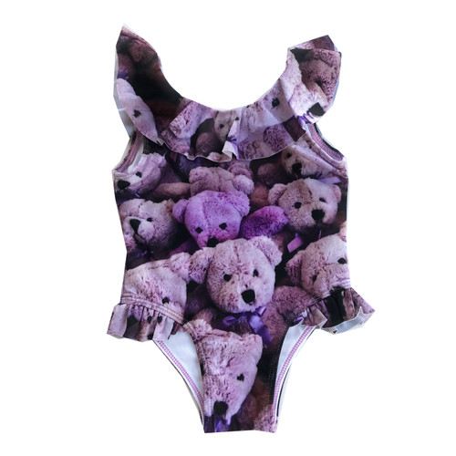 Ruffle Swimsuit - Purple Bears