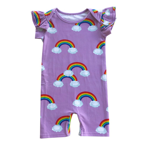 Ruffle Short Romper - Purple Rainbows