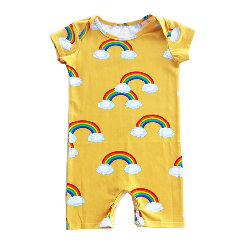 Short Romper - Yellow Rainbows