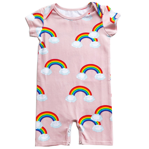 Short Romper - Pink Rainbows