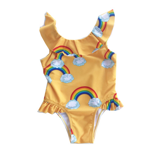 Ruffle Swimsuit - Yellow Rainbows