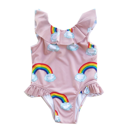 Ruffle Swimsuit - Pink Rainbows