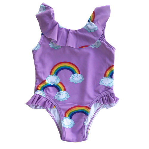 Ruffle Swimsuit - Purple Rainbows