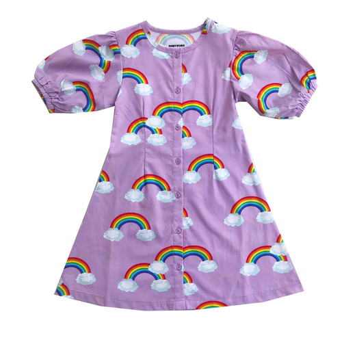 Puff Sleeve Dress - Purple Rainbows