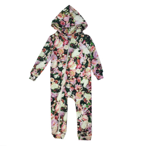 Zipper Hooded Spacesuit - Peonies
