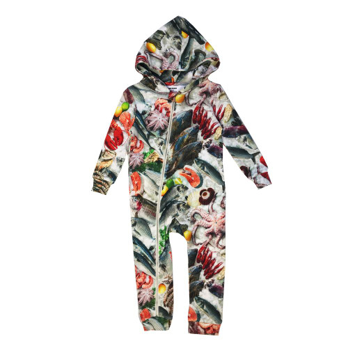 Zipper Hooded Spacesuit - Seafood