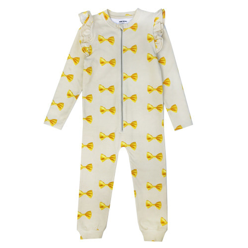 Ruffle Spacesuit - Bows-Yellow