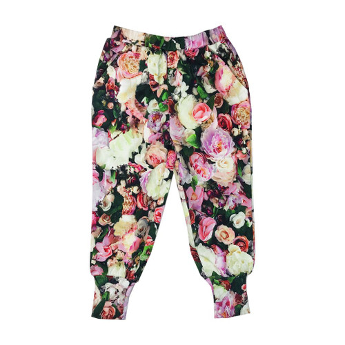Long Cuff Sweatpants - Peonies