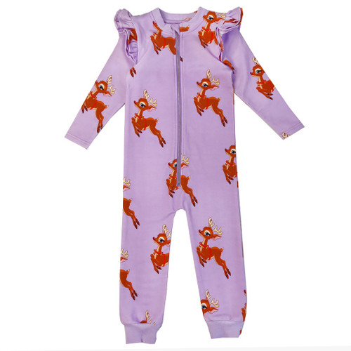 Ruffle Spacesuit - Reindeer-Purple